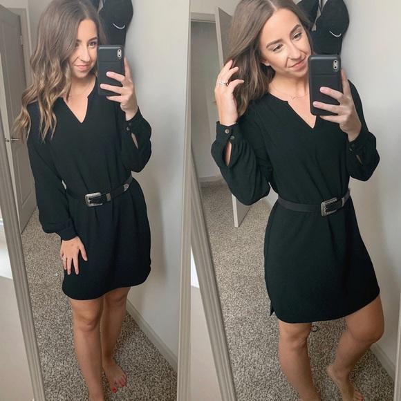 Mossimo Supply Co. Dresses & Skirts - V Neck Long Sleeve Black Dress High Low hem